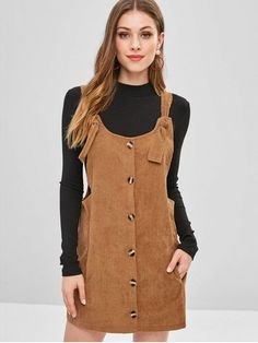 No Fall and Spring and Winter Solid Pockets Sleeveless Scoop Mini Pinafore Straight Casual Cute Tie Corduroy Overall Dress Cute Casual Dresses, Dresses Short, Fall Dresses, Casual Outfits, Cute Outfits, Corduroy Pinafore Dress, Classy Outfits For Women, Corduroy Overall Dress, Next Clothes