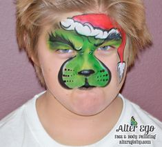 Grinch green Santa hat Christmas winter grumpy Dr Seuss face paint Design seen posted by Susan Bowman Christmas Face Painting, Christmas Art, Christmas Face Paint Ideas, Green Santa, Face Paint Makeup, Boy Face, Face Painting Designs, Face Design, Painting For Kids