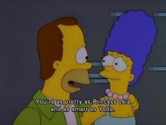 Marge And Homer Simpson reference Star Wars Romantic Memes, Romantic Words, Most Romantic, Homer Simpson, Homer And Marge, The Simpsons, Simpsons Quotes, Simpsons Funny, My Funny Valentine
