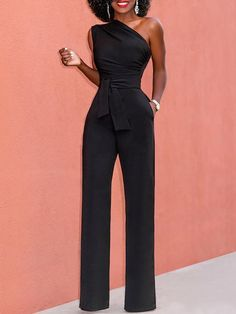 bb3999478503 Black Tie Waist Sleeveless One Shoulder Jumpsuit