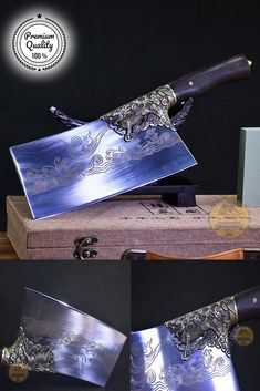 """Specification: blade's length: 22cm (8.6"""") Handle length: 11.5cm (4.3"""") Blade width: 9.6cm (3.5"""") Blade width: 0.3cm Weight: 0.65KG Blade materials: 7Cr17OV steel Handle materials: blackwood  Steak Knives, Weight, Kitchen Tools, Antiques, Handmade, Diy Kitchen Appliances, Antiquities, Kitchen Gadgets, Antique"""