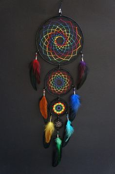 Items similar to Rainbow of the night four piece dream catcher / Mandala / Gift . - Items similar to Rainbow of the night four piece dream catcher / Mandala / Gift for her / Decoratio - Dream Catcher Mandala, Dream Catcher Decor, Dream Catcher Boho, Dream Catcher Mobile, Dreamcatchers, Making Dream Catchers, Beautiful Dream Catchers, Dream Catcher Native American, Diy Tumblr