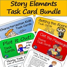 Story Elements Task Card Bundle - four sets of cards - characterization, setting, plot, and theme for grades 4,5,6, and 7, by Classroom in the Middle   TpT Character Web, Types Of Conflict, Class Games, Differentiated Instruction, Story Elements, Upper Elementary, Task Cards, Small Groups, Kids Learning