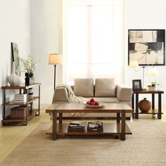 Tribecca Home Lawson 3-Piece Brass and Reclaimed Wood Table Set | Overstock™ Shopping - Great Deals on Tribecca Home Coffee, Sofa & End Tables $791.99