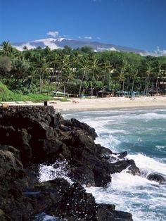Kauna Oa Beach, at Mauna Kea Beach Hotel, The Big Island of Hawaii, with a view of snow-capped Mauna Kea in the distance. #beach #hawaii