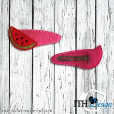 Free watermelon slice snap clip cover embroidery design :)
