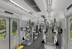 A Japanese railway company unveiled a train with room for nearly 100 passengers—and their bikes