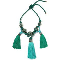 Lanvin Plastron tasseled enameled brass necklace (3.584.390 COP) via Polyvore featuring jewelry, necklaces, green, brass statement necklace, bib statement necklace, lanvin necklace, green statement necklace and tassel necklace