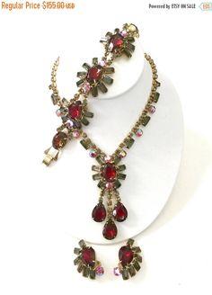 Grey & Wine Rhinestone Set Necklace Bracelet by Vintageimagine