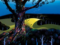 Serigraph by my favorite artist, Eyvind Earle. I have seen the original, at a gallery in Monterey - this pic does the work little justice.