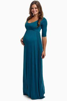Light blue maternity maxi dress