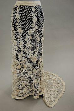 irish crochet skirt   1164: An Irish crochet skirt, circa 1910, worked with l : Lot 1164