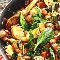 Hapjespan Mediterraanse Kip » Makkelijk Afvallen Kung Pao Chicken, Paella, Bacon, Low Carb, Dinner, Vegetables, Ethnic Recipes, Food, Quiches