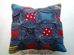 cathedral quilt square cushion using denim!