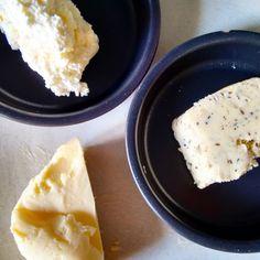 Figure 4. Lower left: Viili/brevis butter; Upper left: Villi/brevis butter, 'underchurned', à la Butterviking'sVirgin Butter; Right: Caraway and cascara butter