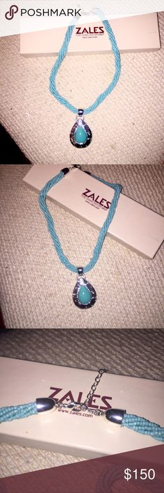 "Sales Turquoise Necklace Stunning Estate Turquoise Necklace from Zales, The Diamond Store.  Necklace consists of 7 strands of genuine turquoise beads twisted into polished silver capped ends and featured a large genuine turquoise pear cut stone in an beautifully detailed polished silver setting.  Measures 16"" with 2"" extender for 18"" fit.  This will make a wonderful gift for Mother's Day!  Same or next day shipping is available.  Please message me when purchased to guarantee speedy…"