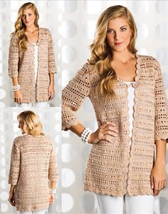 Diy Crafts - Ravelry: Uptown Chic Cardigan pattern by Laura Gebhardt published in Crochet Magazine, Spring 2014 Crochet Coat, Crochet Cardigan Pattern, Filet Crochet, Crochet Shawl, Crochet Clothes, Crochet Sweaters, Crochet Hooks, Pull Crochet, Mode Crochet
