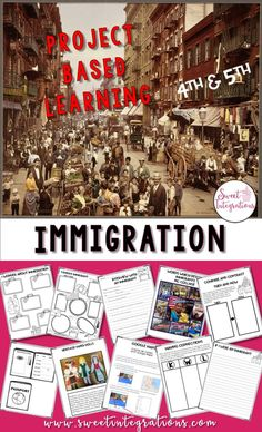 PROJECT BASED LEARNING SCIENCE: Immigration Then and Now – Use this 60+ page resource with your upper elementary 4th or 5th grade classroom or home school students. This project based learning unit focuses on the history of immigration and the students' family heritage. Students use research skills and technology as they address this issues around immigration. {third, fourth, fifth, sixth graders} #ProjectBasedLearning #Immigration #Reading Map Activities, Creative Activities, Learning Activities, Teaching Ideas, Classroom Activities, Teaching Social Studies, Teaching History, Teaching Spanish, Famous Immigrants