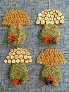hríby so sena a rôzneho prírodného materiaálu Autumn Activities For Kids, Fall Crafts For Kids, Toddler Crafts, Diy For Kids, Easy Crafts, Diy And Crafts, Arts And Crafts, Paper Crafts, Autumn Crafts