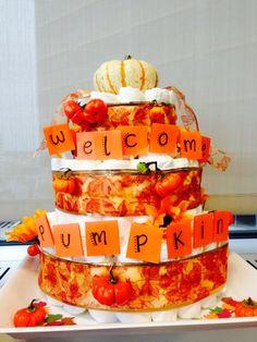 Fall pumpkin themed diaper cake