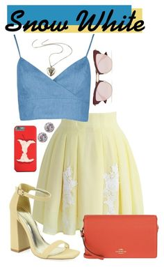 """""""Snow White Disney Bound"""" by gwynnieluree ❤ liked on Polyvore featuring Chicwish, Shoe Republic LA, Coach, Le Specs, Ted Baker, disney, disneybound and disneycharacter"""