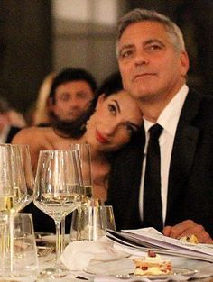 George Clooney and Amal Alamuddin at the ErmannoScervino's closing gala dinner