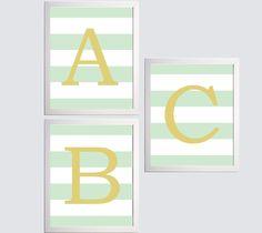 Nursery Art Alphabet Letter ABC Set of 3 Prints by ZeppiPrints. $36.00 USD, via Etsy.