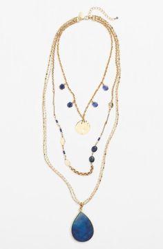 Sara Bella Multistrand Stone Pendant Necklace