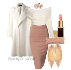 style cute shirys polyvore skirt midi skirt heels jewels jewelry nude heels kim kardashian style white coat bodycon skirt off the shoulder sweater white sweater classy pointed toe patent shoes nude lipstick nude Elegant Hairstyles, Elegant Outfit, Classy Outfits, Natural Hair Styles, Rock, Fashion, Moda, Classy Hairstyles, Stylish Outfits