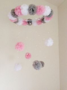 pink and grey crystal baby mobile pom pom by JennabooBoutique