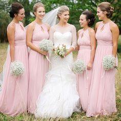 Elegant Pink Bridesmaid Dress,Elegant Wedding Party Dress,Long Bridesmaid Dresses by fancygirldress, $125.00 USD