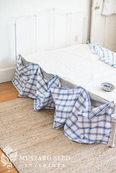 how to make a ruffled bedskirt (with a no sew option) - Miss Mustard Seed Ruffle Bed Skirts, Ruffle Bedding, Blue Bedding, Blue And White Bedding, Bed Without Bedskirt, White Iron Beds, Antique Iron Beds, Mustard Bedding, Bed Risers