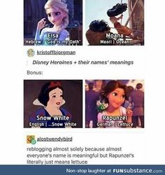 Rapunzel's name is based on the German origin story.  She was taken from her parents because her father stole a witch's head of lettuce for his wife.