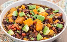 This black bean chili gets a special flavorful twist with squash. Onion, garlic, chili, and cumin turn up the heat in this dish, as butternut squash balances it out with a rich sweetness.
