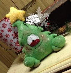 Primitive RagGeDY ChRiSTmaS TrEe SnoWMaN DoLL Shelf Sitter Bowl Filler ORniE 7in #Christmas