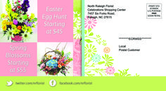 Back of postcard for North Raleigh Florist Easter Promotion. VA Business Help, Virtual Assistant Services. Graphic Designer.