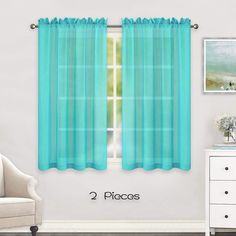 HUTO Short Sheer Curtains for Small Windows Rod Pocket Turquoise Window Sheer Drapes for Kitchen Bathroom 2 Panels 52 Inches Wide by 45 Inches Long Ombre Curtains, Pleated Curtains, Green Curtains, Colorful Curtains, Grommet Curtains, Fabric Shower Curtains, Bathroom Curtains, Blackout Curtains, Small Bedroom Vanity