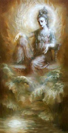 Nice large Oil painting Chinese Kwan-yin Avalokitesvara seated in moon night Hindu Art, Guanyin, Zen Art, Buddhist Art, Gods And Goddesses, Chinese Art, Female Art, Oriental, Images