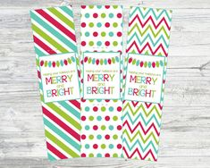 Merry and Bright Glow Bracelet Cards. Instant by LilacsAndCharcoal