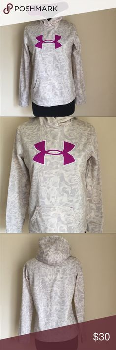 AWESOME-Under Armour Hoodie Sweatshirt- SOFT! AWESOME-Under Armour hoodie sweatshirt - SUPER SOFT! Like new! This has a light, light grey camouflage pattern with a deep purple lining. It's a large boys. Fits like a small. UA Tech™ fabric is quick-drying, ultra-soft & has a more natural feel. Soft inner layer traps in heat to keep you warm & comfortable. Material wicks sweat & dries really fast. Polyester. Imported Under Armour Tops Sweatshirts & Hoodies