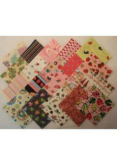 """Girls I Spy 5""""Charm Squares  Pack of 40 squares- 20 designs, 2 of each  100% Cotton  - See more at: http://www.theozmaterialgirls.com/5-girls-i-spy-charm-squares-pre-cut-quilt-fabric-p-6576.html#sthash.IFKiUQ9C.dpuf"""
