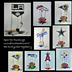 How cool are these?! Sports dripping paintings only created by Jamie Leatherman, The Mezy Artist @ themezyartist.com Drip Painting, Artist Painting, Painting Parties, Paint Party, Paintings, Cool Stuff, Create, Holiday Decor, Sports