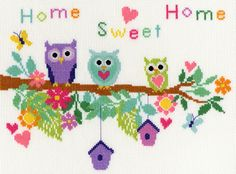 Owl Bouquet(XB4)  Cute Owl cross stitch kit designed by Laura Ann for Bothy Threads. Features the 'Home Sweet Home' phrase so could be suitable to stitch for a 'New Home'.  Contents: 14 count white aida, pre-sorted stranded cottons, needle, chart and full instructions.  Size: 28cm x 21cm.  RRP £24.99