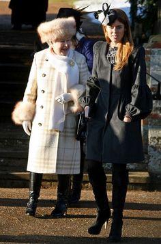 Queen Elizabeth II  and Princess Beatrice. I love the Queen's coat & hat!