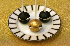 Gold and Black Arrow Themed Cake Pops
