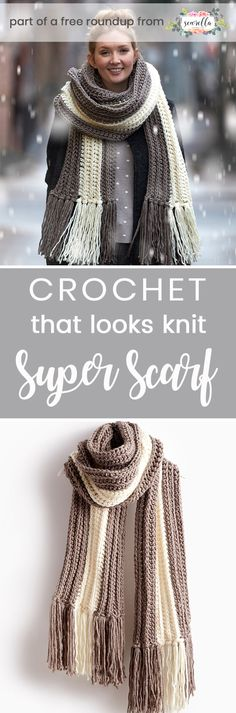 Crochet this easy chunky super scarf with fringe from my crochet scarves that look knit free pattern roundup!