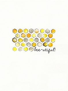 Bee-utiful/ Honeycomb/yellow and gray/yellow and grey/Archival Watercolor Print. $20.00, via Etsy.