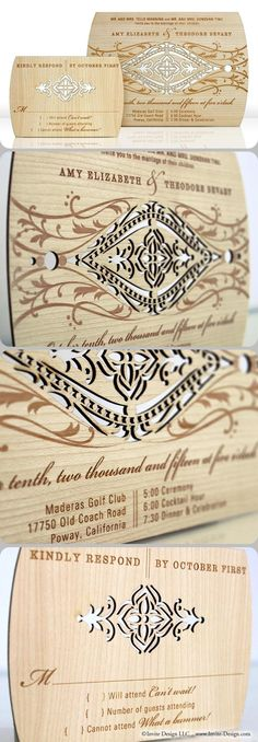 "Ornate wood wedding invitations, intricately laser cut into 1/16"" reclaimed wood panels. http://www.invite-design.com/#!product/prd12/2202403765/lavish-invitation"