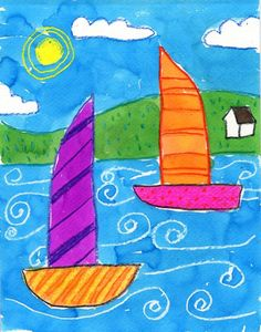 """My students are all big fans of the """"white crayon trick"""", and use it whenever possible. Try to have students draw with them directly on the paper – no pencil planning first. Gray lines really take away from the clean white look. 1. Some pencil planning is necessary to begin this painting, so students should first draw two boats and horizon grass lines in pencil as shown. 2. Once those large shapes have been … Read More #sailboatart"""