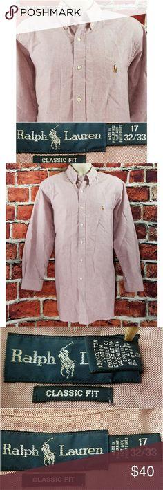 W/ Measurements Ralph Lauren Shirt  Excellent Condition Pinkish Classic Fit  Size: XL 17-32/33 Across Chest: 25.5 Length: 32.5 Sleeve: 23 Ralph Lauren Shirts Dress Shirts